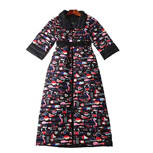 Women's Mid-sleeve Printed Double-sided Wearable Warmth Long Knee Down Jacket Winter Coat