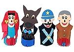 Fantoches Chapeuzinho Feltro 4 Personagens Embalagem Plástico Carlu Brinquedos