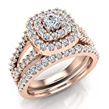 Cushion Shape Double Halo Split Shank Wedding Ring Set 1.10 Carat Total 18K Rose Gold (Ring Size 7.5)