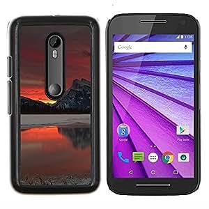 Red Sunset Glow- Metal de aluminio y de plástico duro Caja del teléfono - Negro - Motorola Moto G (3rd gen) / G3