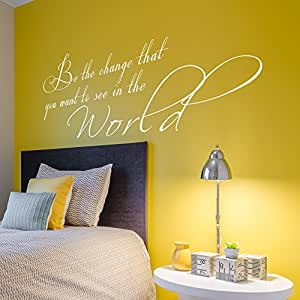 "Be The Change You Want In The World - Inspirational Vinyl Wall Quotes Wall Decal Art Study Room Decor (46x22"" Bright Green)"