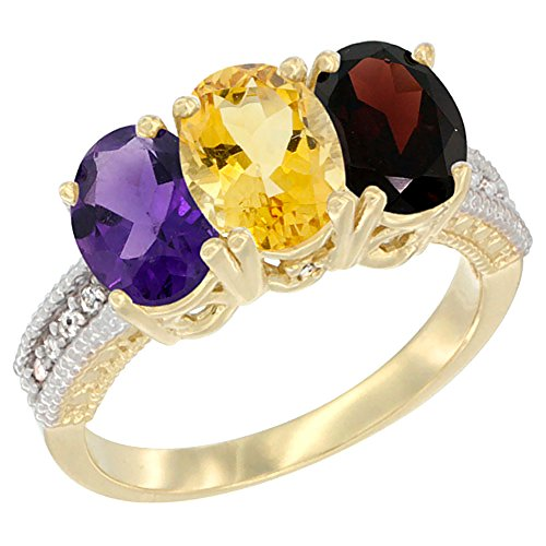 Oval Citrine Diamond Accent Ring - 14K Yellow Gold Natural Amethyst, Citrine & Garnet Ring 3-Stone 7x5 mm Oval Diamond Accent, size 10