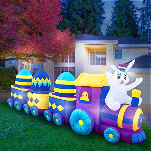 Holidayana 12 Foot Inflatable Easter Bunny Train Decoration with Engine and 3 Cars, Includes Built-in Bulbs, Tie-Down Points, and Powerful Built in Fan ()