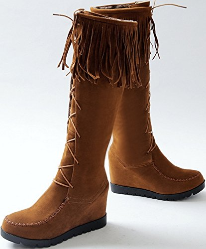 Laruise Women's Fringy Riding Boot Brown sUY1z7UVi3