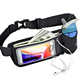 Accering Running Belt Waist Bag Fanny Pack for Men & Women with Water Bottle Holder, Hold iPhone 8 Plus Screen Size 6.5 Inch Workout Belt Sport Waist Pack for Hiking Cycling Gym (Black)