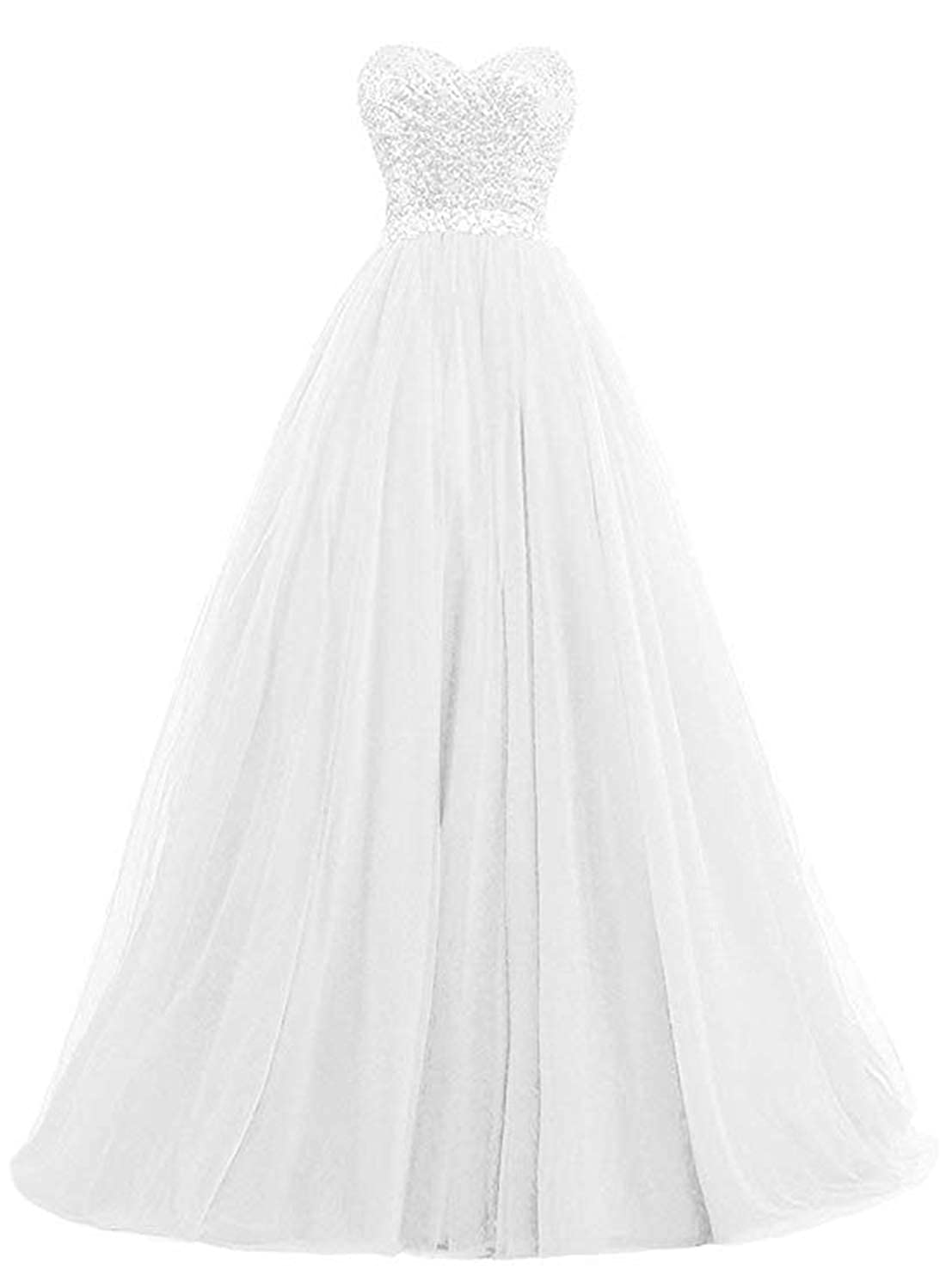 White olise bridal Sexy Sweetheart Women's A Line Long Prom Dresses Sequin Party Formal Dresses Ball Gowns