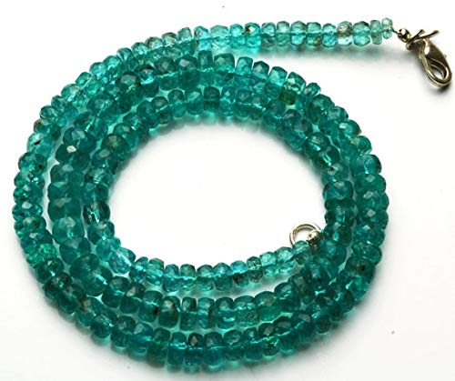 GemAbyss Beads Gemstone 1 Strand Natural 17.5 Inches Super Finest Quality -AAA-Green Emerald Color Apatite Roundel Faceted Beads Necklace 3.5 to 6.5 MM Code-MVG-22676