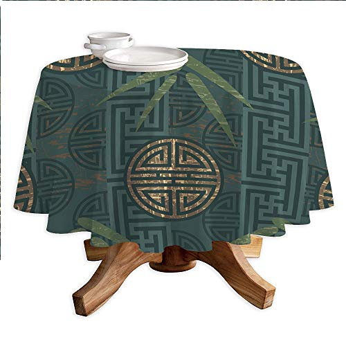 Bamboo Leaf Table Lamp - Bamboo Round Polyester Tablecloth,Authentic Asian Composition with Oriental Motifs Leaves Eastern Elements Decorative,Dining Room Kitchen Round Table Cover,42