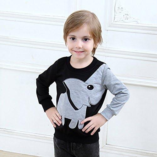 Tkiames B/éb/é Gar/çons enfants /Él/éphant impression manches longues Tops Col rond Cartoon SweaterShirt T-shirt
