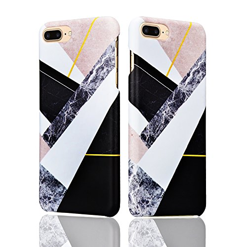 para iPhone 7 plus Funda Mármol Carcasa Sunroyal® PC Dura Carcasa Flexible Bumper Case Cover Cubierta de Protección Anti-Arañazos Choque Resistente Caja del Teléfono para iPhone 7 Plus 5.5 - Mármol P A-06
