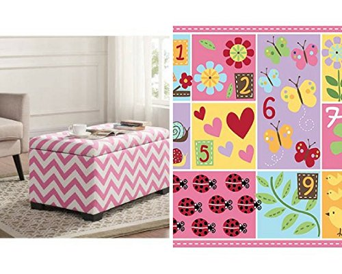 Kids Storage Box Pink Cheveron and Teach Me Numbers Nylon Rug, Multi-Color by Better Homes and Gardens