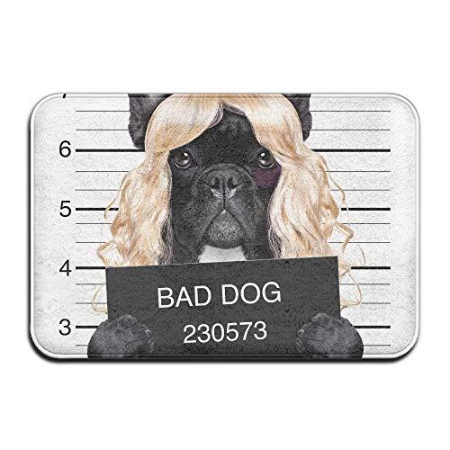 (Findguage Indoor Welcome Personalized Hello Doormat, Bad Dog Blonde Wig, Doormat Washable Carpet)