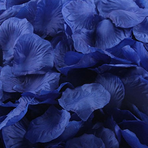 LEERYA 1000pcs Gold Silk Rose Artificial Petals Wedding Party Flower Favors Decor (Blue) - Orchid Wedding Favors