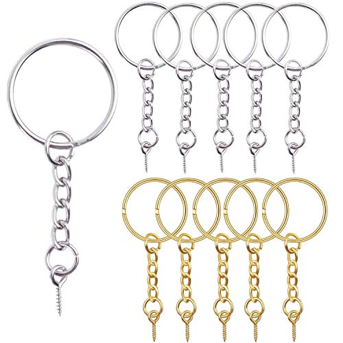 Gold Silver Keychain - Hendevl 50 Pieces 25mm Split Key Ring with Extend Chain and 12mm Screw Eye Pin for Craft Charm Making,Gold and Silver