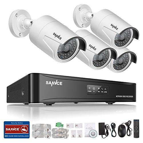 Sannce 960P POE NVR Network Security System and (4) 1.3Mega-Pixels Weatherproof Bullet Cameras, NO HDD