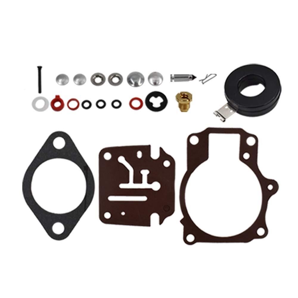 Carburetor Rebuild Repair Kit with Float for Johnson Evinrude 65 70 75 HP Pack of 2