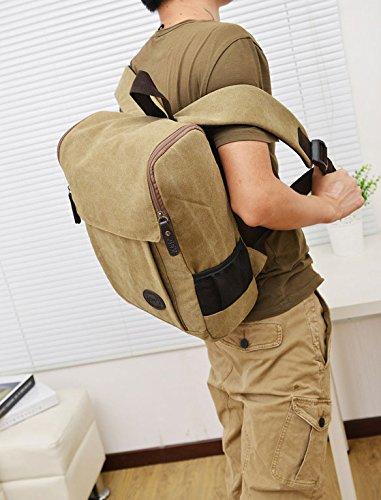 Frauen und Männer mit hoher Kapazität Segeltuch-Rucksack mit Spitzenhandgriff-Schule-Beutel (blau) khaki Wpy1yN