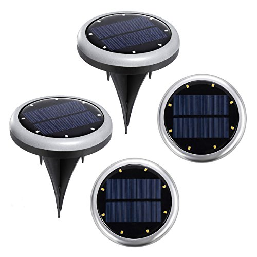 Partysky Solar Ground Light, 8 LED Solar Powered Outdoor Landscape Lights, Waterproof Garden Landscape Pathway Led Lights Auto On/Flash/Off for Yard Garden Driveway Pathway Pool 4PC SET by Partysky