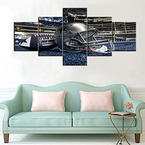 Cowboy Framed Canvas - Dallas Cowboys Pictures American Football League Paintings 5 Piece Canvas Prints On Canvas Wall Art Home Decor for Living Room Wooden Framed Gallery,B,20x30x220x40x220x50x1