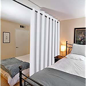 White Linen Curtain Ultra Thick and Durable Thermal Insulated Patio Curtain, Grommet Decorative Sliding Door Panel, W100 x L84 inch - Pure White (Set of 1)