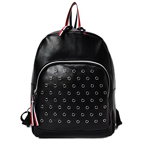Backpacks Shoulder Travel Bag Leather Handbag Black Girls Handbag Women Hunzed Black Schoolbags Women Crossbody qZtxvCS