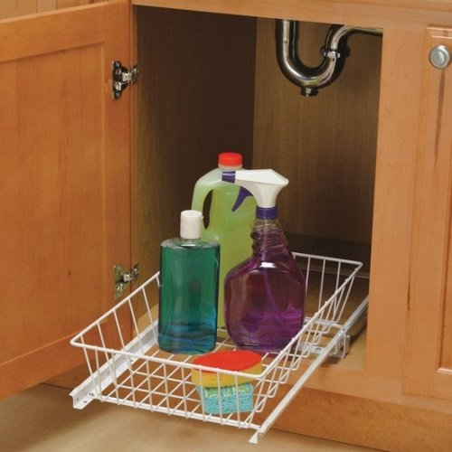 Under Sink Pull Out Basket - Wire (White) (5''h x 15''w x 18 3/4''d)