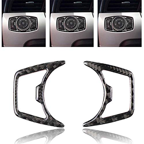 Misszhang-US 1 Pair Car Carbon Fiber Headlight Switch Trim Sticker for Ford Mustang -