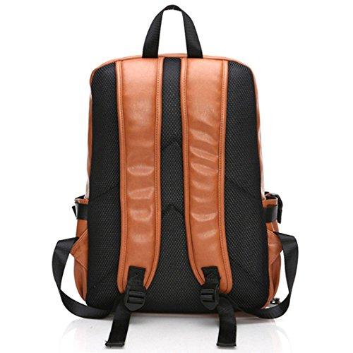 Studenten Campus Rucksack, Foxom PU Leder 15-Zoll-Laptop Daypack Wanderrucksack Backpack Damen Herren Studenten Schultertasche Für Camping Reise (Ming blau) Braun