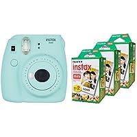 Fujifilm Instax Mini 9 Instant Camera, Ice Blue & Fujifilm Instax Mini Film, Multi-Pack White (3 x 2pk, 60 shots total)