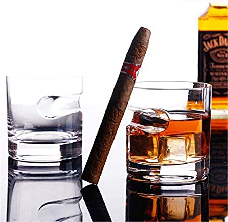 Vaso de whisky con soporte para puros, vasos de vino escocés de cristal antiguo de 320 ml para los amantes de los puros y los cigarrillos, regalos personalizados para hombres, cuadrados/redondos.