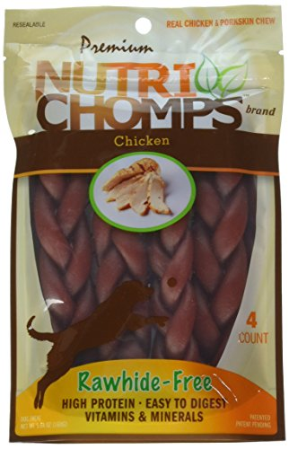 (Scott Pet Nt013 Nutri Chomps Braid Chicken Flavor Dog Chew (4 Count), 6