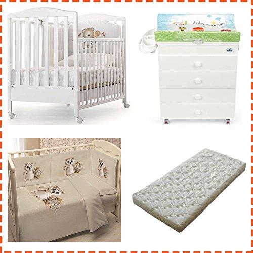 Kinderbett Web Azzurra Design + Wickelauflage Asien Cam + Steppbett mit Fotodruck + Matratze abziehbar (Eule)