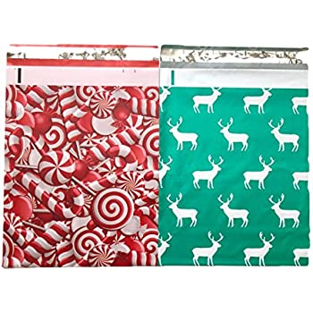 Holiday Christmas Designer Poly Mailers 10x13 : Candy Cane and Reindeer Deer Elk Combo; Printed Self Sealing Shipping Poly Envelopes Bag ( 30 Pcs Total )