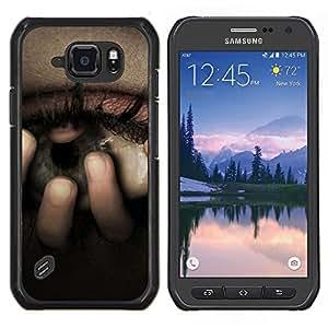 Be-Star Único Patrón Plástico Duro Fundas Cover Cubre Hard Case Cover Para Samsung Galaxy S6 active / SM-G890 (NOT S6) ( Œil inquiet Dépression Tristesse Pleurer )