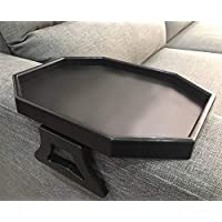 Sofa Arm Clip Table, Armrest Tray Table, Drinks/Remote Control/Snacks Holder (Black)