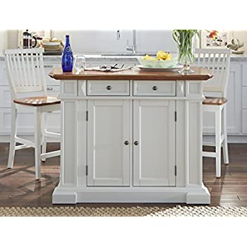 Attractive Home Styles 5002 948 Kitchen Island And Stools, White And Distressed Oak  Finish
