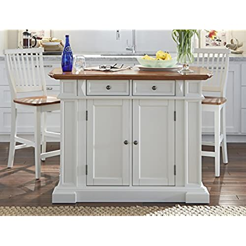 Home Styles 5002 948 Kitchen Island And Stools, White And Distressed Oak  Finish