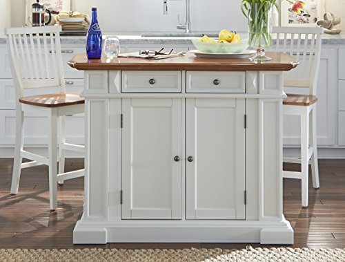 - Home Styles  Kitchen Island and Stools, White and Distressed Oak Finish