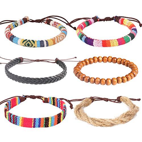 Set Bracelet Bead Stretch (Wrap Bead Leather Woven Stretch Bracelet - 6 Pcs Boho Hemp Linen String Bracelet for Men Women Girls)