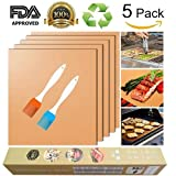 Bake Mat Set of 5 Non Stick BBQ Grill & Baking Mats - Reusable, Easy to Clean - PTFE Teflon Fiber Grill Roast Sheets for Gas, Charcoal, Electric Grill Gold (with 2 Brushes)