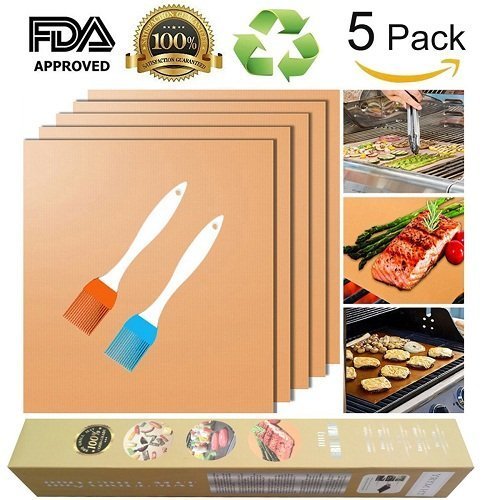 Bake Mat Set of 5 Non Stick BBQ Grill & Baking Mats - Reusable, Easy to Clean - PTFE Teflon Fiber Grill Roast Sheets for Gas, Charcoal, Electric Grill Gold (with 2 Brushes) by EEIEER (Image #9)