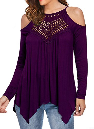 MIHOLL Women's Casual Tops Lace Off Shoulder Long Sleeve Loose Blouse Shirts (Small, Purple)