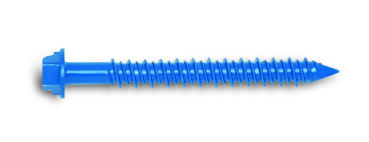 100 Per Box Powers Fastening Innovations 2734SD 1//4-Inch by 5-Inch Tapper and Hex Head Carbon Steel Screw Anchor Blue Perma Seal