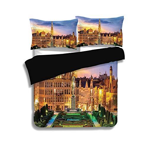 Park Avenue Comforter Set - Black Duvet Cover Set Full Size,Cityscape,Brussels Citscape with Monument Belgium Avenue Medieval in Gothic Style Print Deco,Multi,Decorative 3 Pcs Bedding Set by 2 Pillow Shams