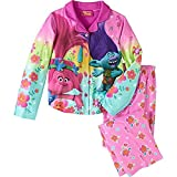 Trolls Little Girls' 2-Piece Coat Style Pajama Set Size 7/8