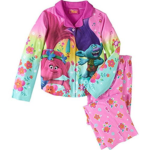 Trolls Little Girls' 2-Piece Coat Style Pajama Set Size 7/8 by Trolls