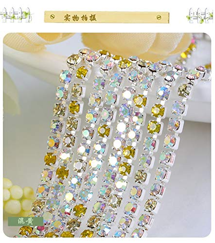 (ASTONISH Deal 3mm 10yards base Rhinestone chain Color mixing Clear AB Glass Crystal: C10)