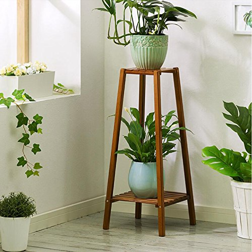 Magshion Bamboo Tall Plant Stand Pot Holder Small Space Table (2 Tier) (Stand Tall Plant)