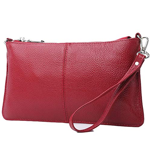 (Lecxci Leather Crossbody Purses Clutch Phone Wallets with [Card Slots] for Women (Wine))