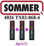 3 X Sommer 4026 TX03-868-4, 2-channel 868MHz remote controls!!! Top quality original remote. 100% compatible with Sommer 4020, Sommer 4031 and Sommer 4026. 3 PiECES!!!